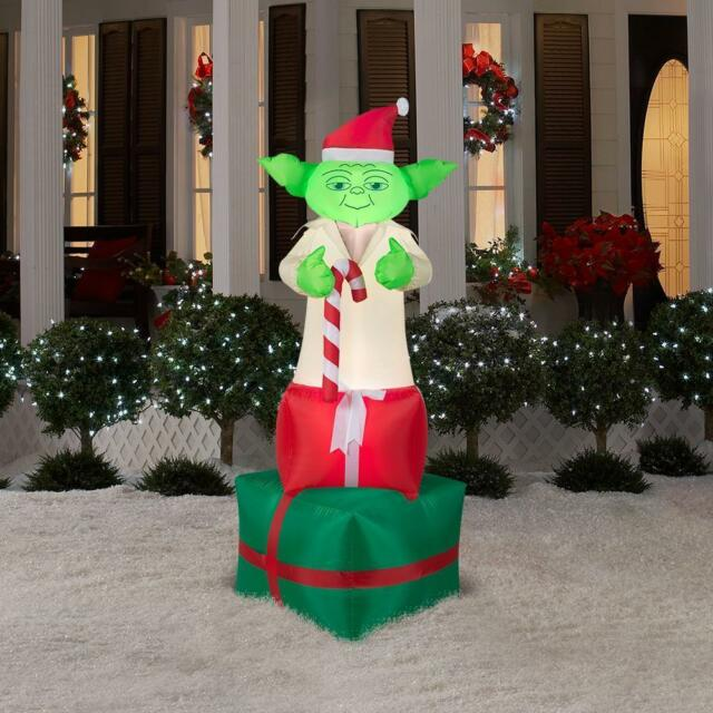 6 star wars yoda on presents lighted christmas airblown inflatable outdoor - Star Wars Blow Up Christmas Decorations