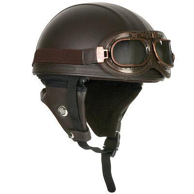 (NEW) Motorcycle Vintage Style Retro Distressed Half Helmet (Brown) + Goggle