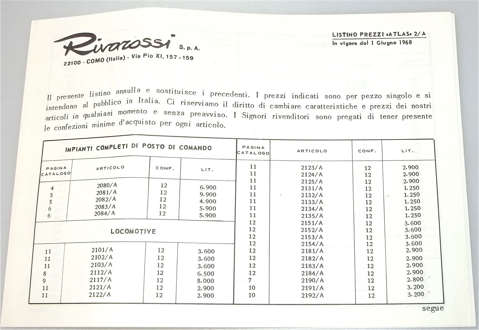 Rivarossi Listino Prezzi Atlas Lista Precios 1968 Å