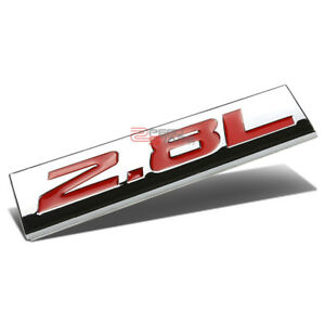 POLISHED-CHROME-RED-2-8L-2-8-L-METAL-EMBLEM-DECAL-LOGO-TRIM-BADGE-3M-ADHESIVE