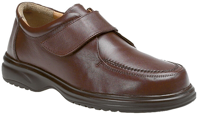 Roamers M460B Mens Brown Leather Lightweight Wide Fitting Touch Fastening shoes