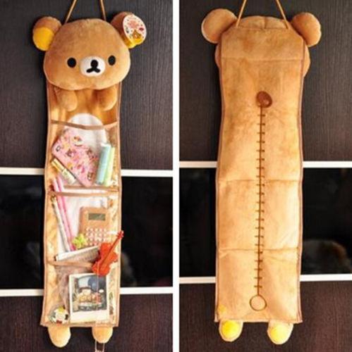 FD4300 Home Decor 3 Pockets Rilakkuma Relax Bear Wall Hanging Storage Bags☆