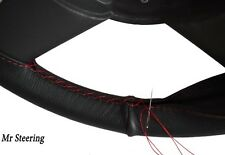 BLACK LEATHER STEERING WHEEL COVER FOR CHEVROLET BEL AIR V 61-64 DARK RED STITCH