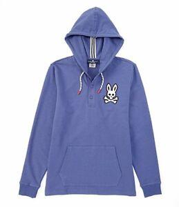 Psycho-Bunny-Men-039-s-Sz-M-Long-Sleeve-Hoodie-hooded-Sweatshirt-Blue-Slate-NWT