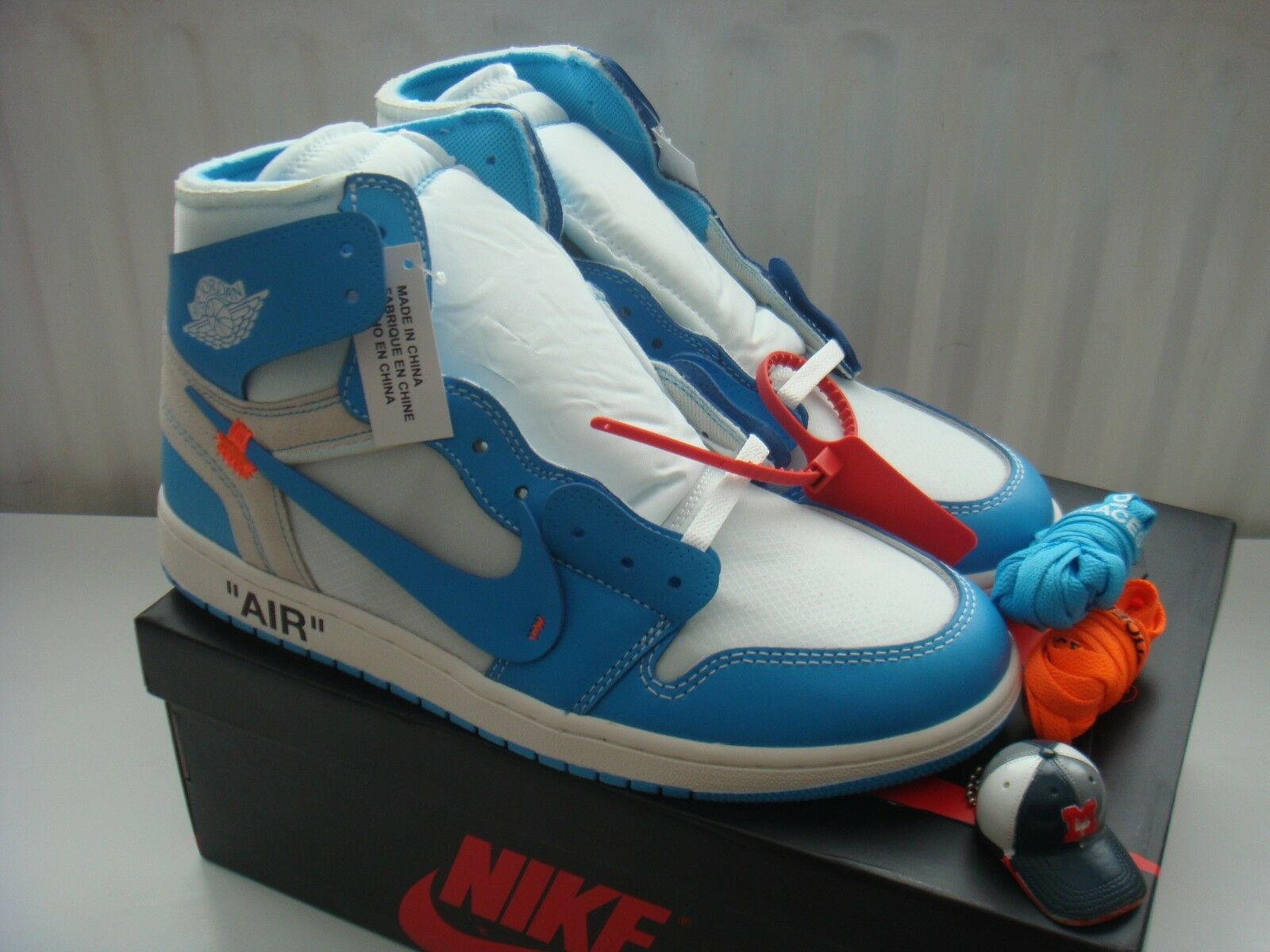 Nike x blanc-cassé Air Jordan I 1 unc Etats-Unis 11/UK 10 Bleu Poudre/CAROLINE/abloh