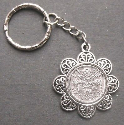 1960 lucky Sixpence 60th birthday charm keyring Wedding a free present box Queen