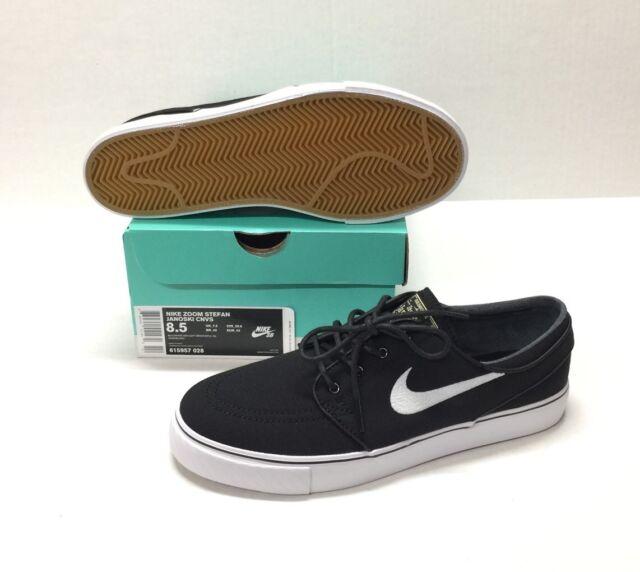 Nike SB Zoom Stefan Janoski CNVS Canvas Black Skateboarding Shoes ... 2defb1837