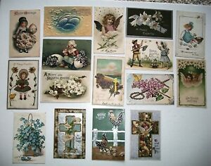LOT-OF-16-HAPPY-EASTER-GREETINGS-ANTIQUE-POSTCARDS-2-TUCKS