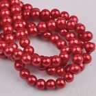 100pcs 6mm Pearl Round Glass Loose Spacer Beads Jewelry Making Red