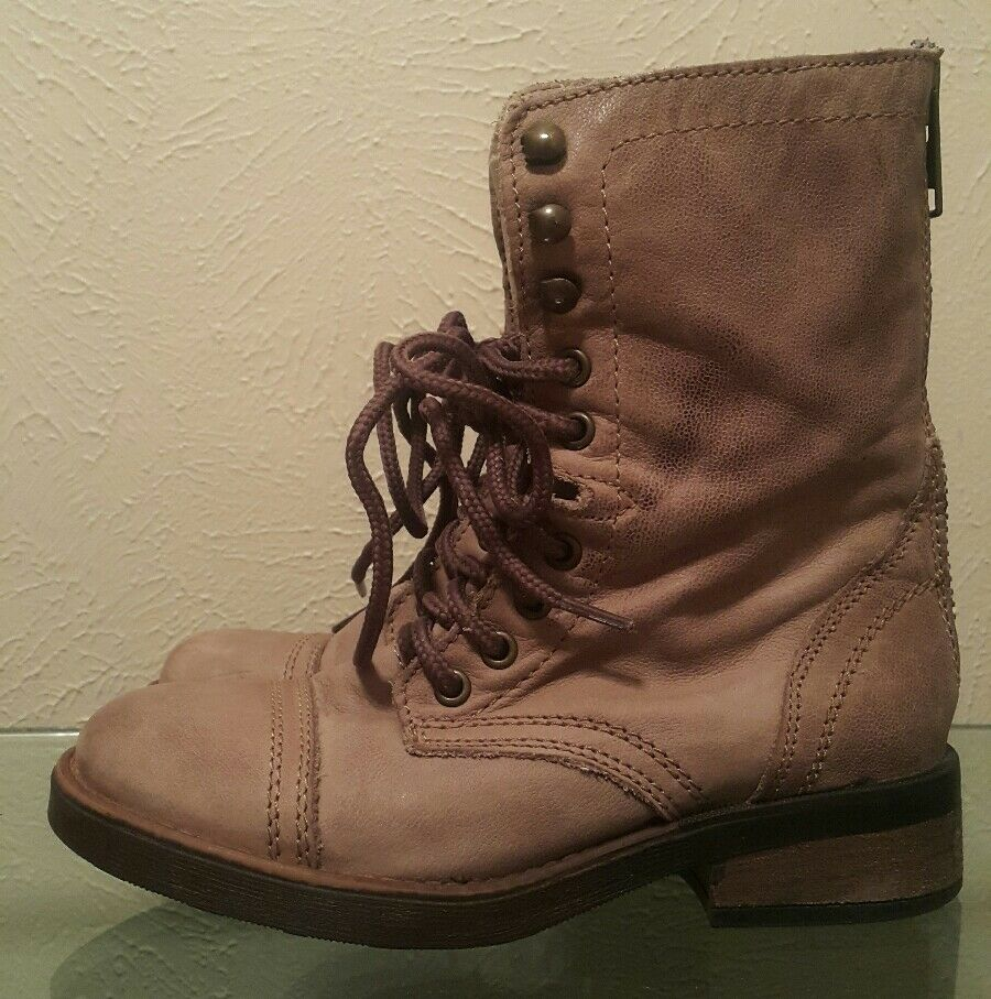 Steve Madden Parto Lace Up Combat Taupe Leather Boots Size5 Purple Rear Zip