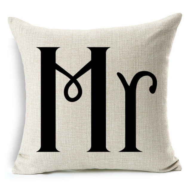 Mrs And Mr Love Cushion Covers Cotton Linen Throw Pillow Case Home Decor