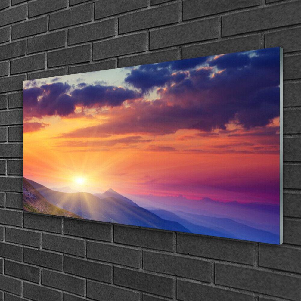 Acrylique Print Wall Art Image 100x50 Photo soleil montagnes paysage
