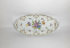 Richard-Klemm-Dresden-2-1-2-034-x-6-034-Floral-Painted-Serving-Decorative-Tray-w-Gold