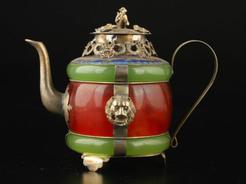 Chinese handwork old green /& Red jade bracelet inlay tibet-silver dragon teapot
