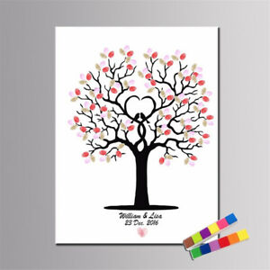 DIY-Fingerprint-Tree-Signature-Canvas-Painting-Guest-Book-Wedding-Decor-New