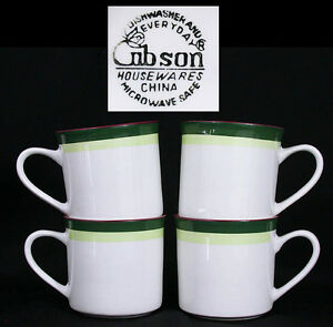 974eabf6522 Details about SET 4 GIBSON COFFEE MUGS~Cups WHITE w/ GREEN, Light GREEN &  BROWN Rim XLNT Cond!