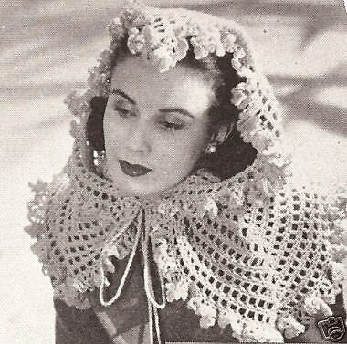 Vintage Crochet Pattern To Make Three Fascinator Shawl Wrap Head
