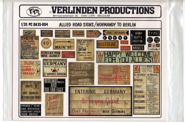 VERLINDEN 35004 Allied road signs Normandy to Berlin scala 1 35