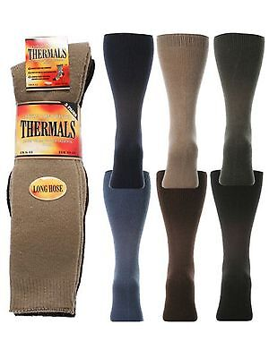 3 Mens David James® Extra Long Warm Winter Thermal Socks Uk 6-11 GläNzend