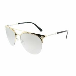 2559c4459a Versace VE 2181 12526G Pale Gold Metal Aviator Sunglasses Silver ...