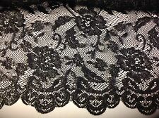 "NEW Designer Black Silver Fancy Stretch Floral Lace Fabric 53"" Both Sides Scalp"