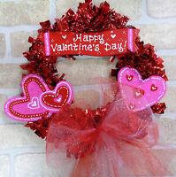 Happy Valentine's Day Wood Wreath Wall Door Heart Hanging Hanger Seasonal Decor