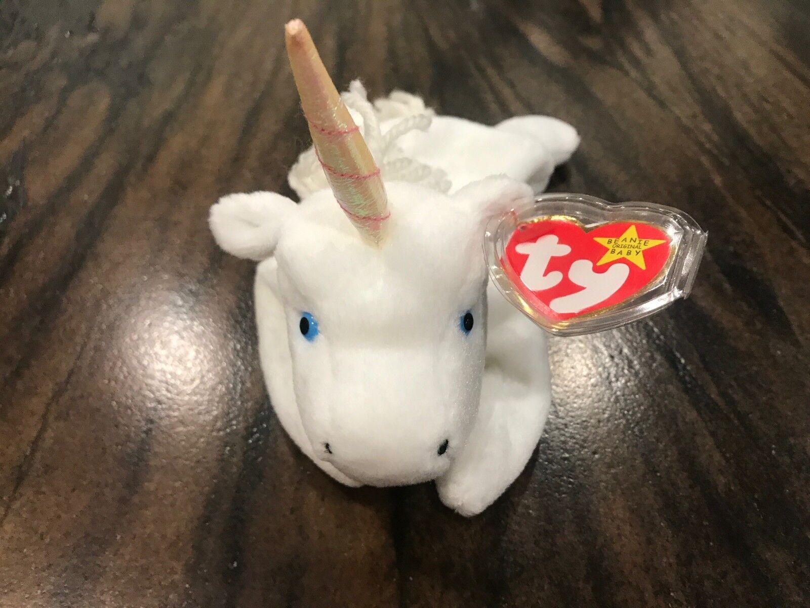 Ty Beanie Baby Mystic Unicorn Iridescent Horn w  Tag Errors Very Rare RETIRED