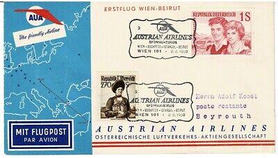 Methodisch Österreich Sonderbeleg Aua Erstflug Wien Briefe & Kartenposten Beirut ZuverläSsige Leistung