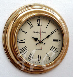 17 Nautical Brass Ships Wall Clock Made For Franklin Murphy Beach House Decor Ebay