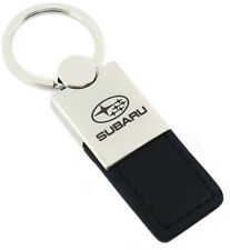 Subaru WRX Outback Black Leather Chrome Keychain Car Fob Key Ring Chain Lanyard
