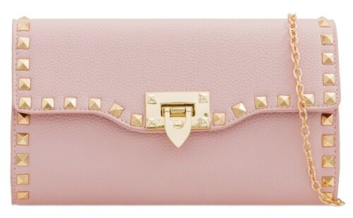 LADIES FAUX LEATHER ENVELOPE PARTY PROM GOLD STUDS CLASP FASHION CLUTCH BAGS