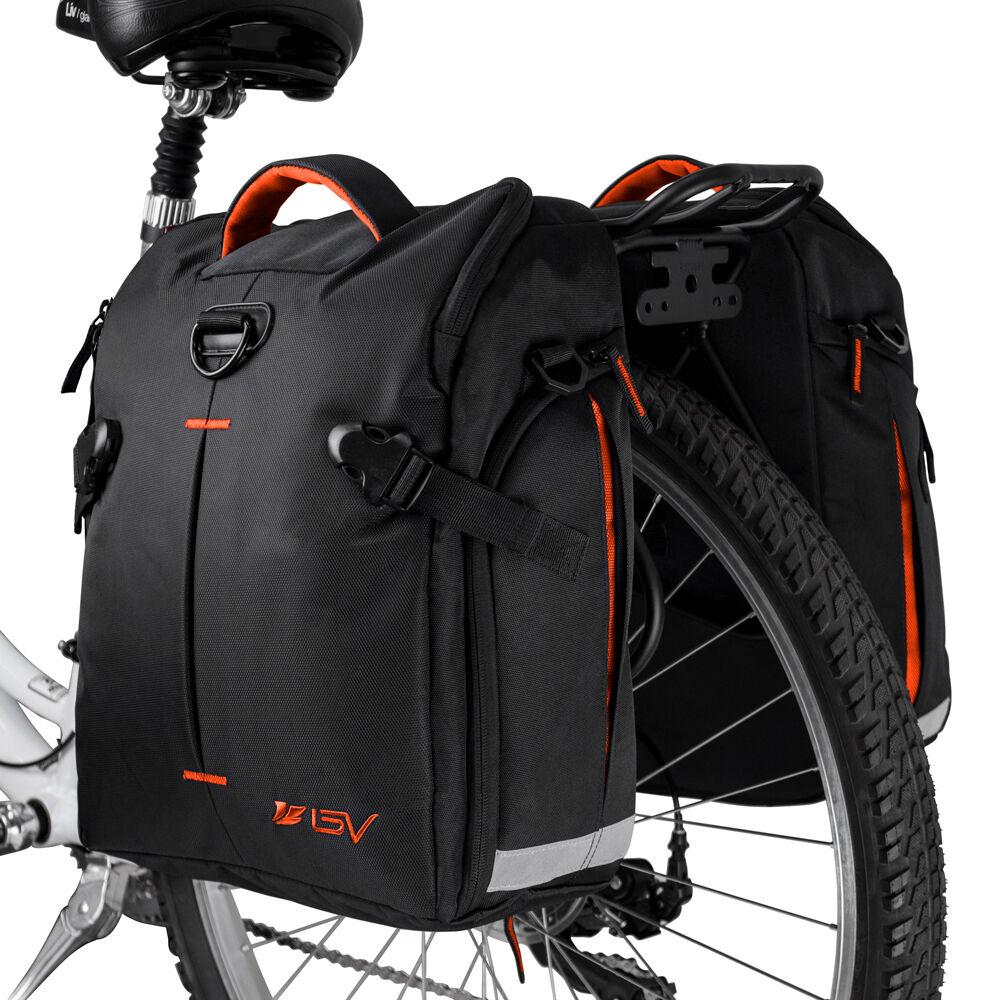 BV Bike Panniers Cycling Rear Bags Trunk Large Storage Rain Cover NEW BA3-PAIR