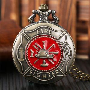 Copper Retro Fire Fighter Fireman Men Quartz Pocket Watches Necklace Chain Gift