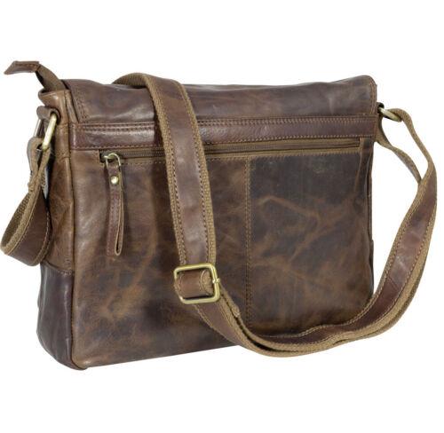 Bag Massenger 32x25x10cm Echtleder Schultertasche Braun Citybag Kuriertasche Awq0Fn