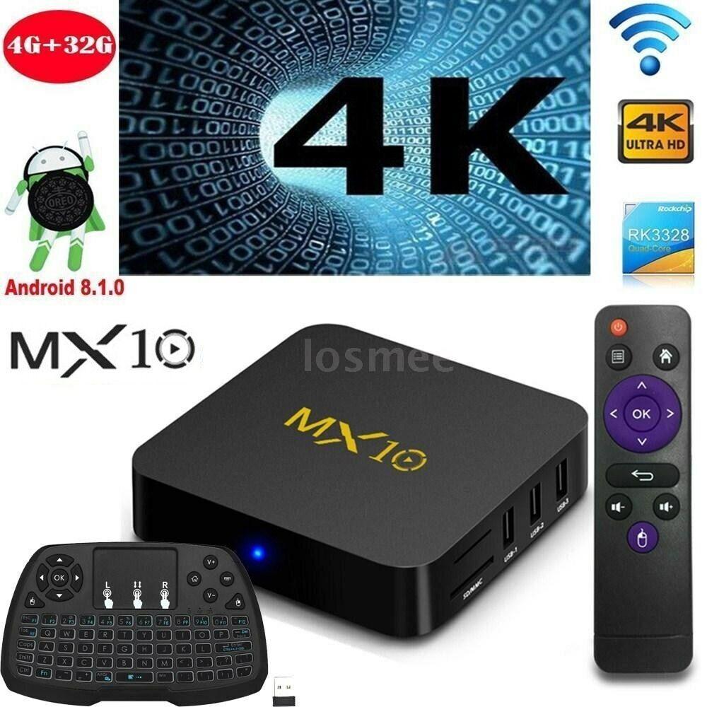 MX10 Android 8.1 TV BOX RK3328 Quad Core 4G 32G WiFi 4K Media +Wireless Keyboard