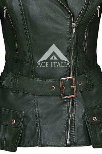 /' FEMININE/' Ladies Leather Jacket Green Waist Belt 100/% SOFT Real Leather 2812