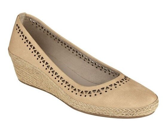 Easy Spirit Derely wedge pumps espadrilles Leder natural tan sz 9 WIDE NEU