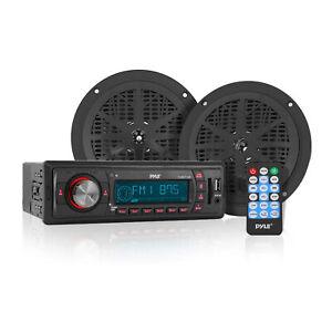 Pyle PLMRKT12BK 5.25 Inch Marine Stereo Radio System Receiver Speaker Kit, Black