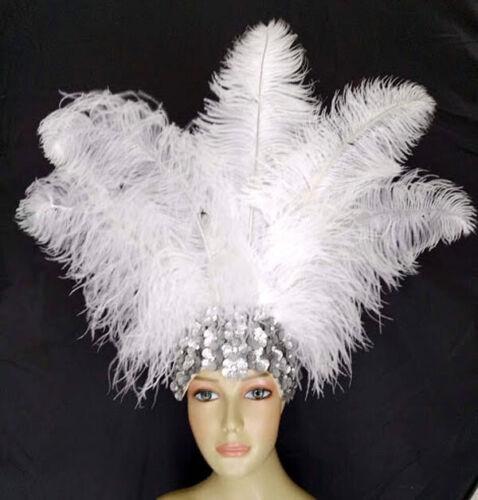 Dance Carnival Ostrich Feather Headdress Showgirl Samba