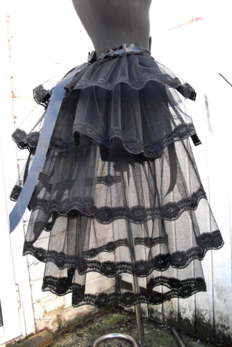 Black tulle bustle belt skirt w black lace Hen party show girl Whitby Prom
