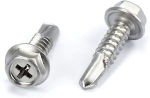 """100pc Stainless Steel Self Drilling Tapping Screws #10 x 2/"""" Hex and Phillips"""