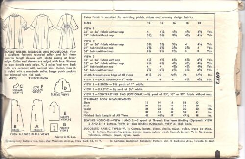 4972 Vintage Simplicity Sewing Pattern Misses 1950/'s Duster Negligee Housecoat