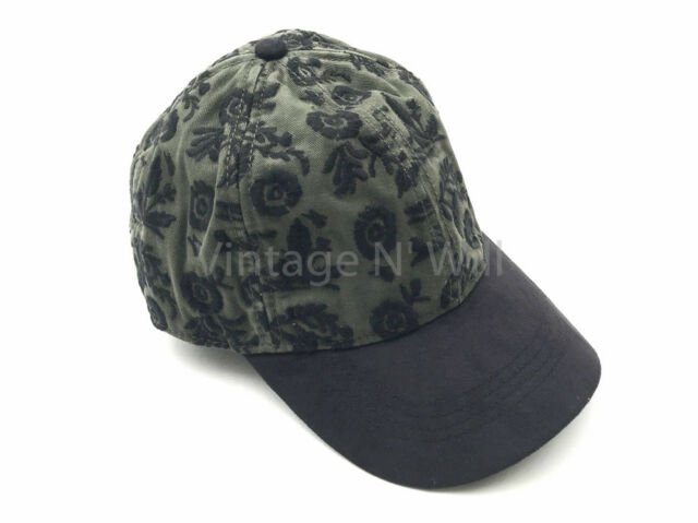 da485b6e015eb Frequently bought together. Lucky Brand Womens Army Olive Green  Black Embroidered  Floral Baseball Hat Cap