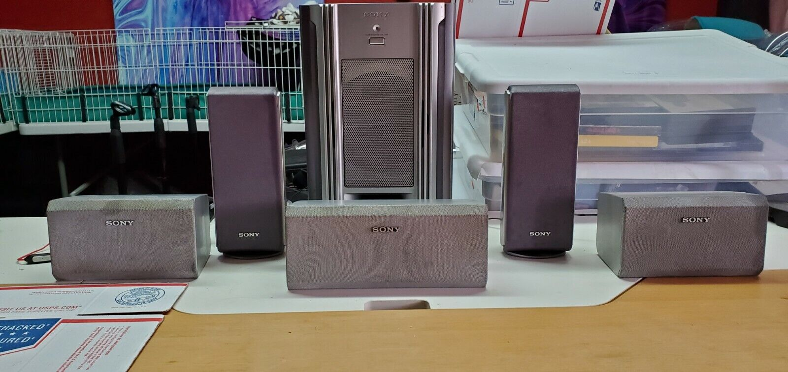 6 Piece Sony Surround Sound System - 5 Speakers + Sub Woofer Tested and Working. Buy it now for 80.00