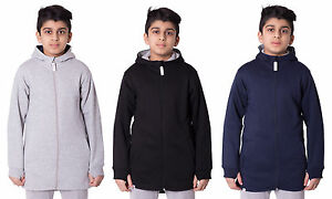 Girls-Boys-Unisex-Kids-High-low-long-Zip-Hoodie-With-front-Pocket-Sweatshirt
