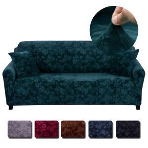 Vintage Embossed Flower Velvet Plush Sofa Cover Stretch Chair Couch Slipcovers