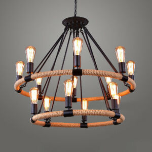 Industrial vintage wrought iron pendant light ceiling lamp hemp rope image is loading industrial vintage wrought iron pendant light ceiling lamp aloadofball Image collections