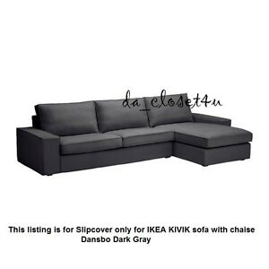 Image Is Loading Ikea Kivik Slipcover Dansbo Dark Gray Cover For
