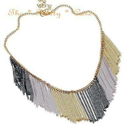 Gold Ethnic Tribal Retro Fringe Waterfall Curtain Tassels Burlesque Bib Necklace