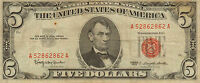 1963 $5 US Note, Red Seal, Medium to High Grade Note  (U-3)
